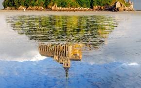 Картинка отражение, замок, Франция, монастырь, Нормандия, Мон-Сен-Мишель