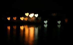 Картинка отражение, сердечки, bokeh, эффект боке, тёмный фон