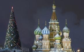 Картинка Кремль, Christmas, Собор Василия Блаженного, Москва, Красная площадь, Happy, 2015, New, ель, Merry, Year, Ёлочка, ...