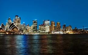 Картинка ночь, огни, побережье, небоскребы, Австралия, Сидней