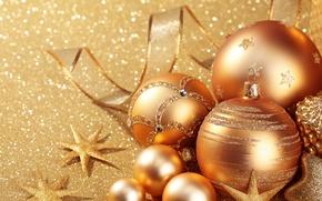 Картинка украшения, золото, шары, Новый Год, Рождество, golden, Christmas, balls, New Year, decoration