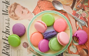 Обои macaron, макарун, ассорти, Anna Verdina, разноцветное, печенье, ложка