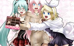 Картинка девушки, шоколад, арт, очки, конфеты, vocaloid, hatsune miku, бант, megurine luka, kagamine rin, вокалоид, заколки, …