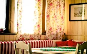 Картинка стол, комната, занавески, шторы, столовая