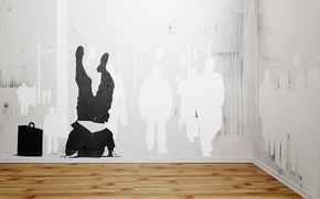 Обои люди, стена, улица, граффити, паркет, трафарет, vhm_alex, how to disappear completely, кейс