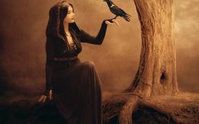 Картинка девушка, лицо, фантастика, дерево, птица, рука, макияж, платье, арт, профиль, ведьма, ворон, Jennifer Gelinas