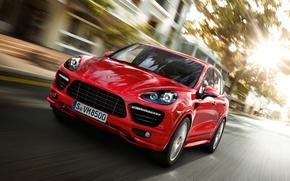 Картинка дорога, красный, город, скорость, Porsche Cayenne