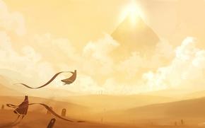Обои песок, прыжок, пустыня, гора, арт, существа, балахон, blinck, journey