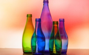 Картинка стекло, макро, свет, бутылки, цветовая гамма
