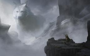 Картинка туман, фантастика, скалы, волк, арт, wolf