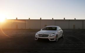 Обои обои авто, cls 63, лучи, City, фото, белый, город, cars, mercedes-benz, white, auto, cls-klasse, c218, ...
