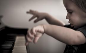 Картинка девочка, пианино, звуки