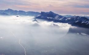 Обои горы, облака, зима