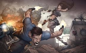 Картинка оружие, patrick brown, мужчина, девушка, перестрелка, art
