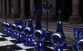 Обои игра, шахматы, glass, доска, фигуры, стратегия, rendering, чёрное и белое, Kjasi, Chess set, синее стекло, ...
