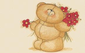 Картинка цветы, настроение, подарок, арт, мишка, букетик, детская, Forever Friends Deckchair bear