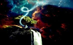 Обои водопад, вихрь, дерево