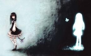 Картинка девушки, бабочка, аниме, арт, хвост, бант, umineko no naku koro ni, когда плачут чайки, blackball, …