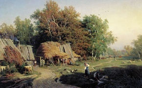 Обои Деревня, Васильев, картина