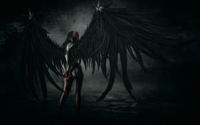 Картинка поза, девушка, колготки, крылья, арт, падший ангел