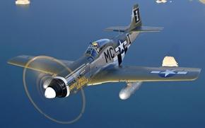 Картинка небо, авиация, рисунок, истребитель, самолёт, американский, Вторая мировая война