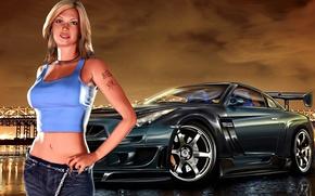 Картинка девушка, город, гонки, Need for Speed, Underground