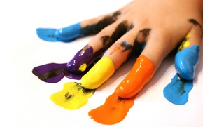 Обои Рука, пальцы, краска