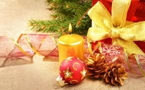 Картинка украшения, красный, ленты, игрушки, елка, свеча, шарик, Новый Год, Рождество, подарки, шишки, праздники, елочные