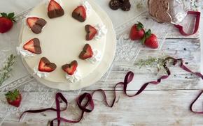 Обои любовь, ягоды, праздник, еда, шоколад, клубника, лента, торт, love, пирожное, cake, крем, десерт, food, сладкое, ...