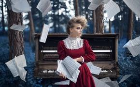 Картинка девушка, ноты, музыка, пианино