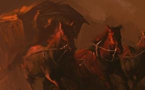 Картинка лошадь, карета, art, horses