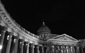 Картинка Ночь, Санкт-Петербург, Исаакиевский собор, Черное-белое