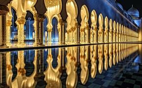 Картинка отражение, бассейн, архитектура, Мечеть шейха Зайда, Абу-Даби
