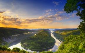 Картинка лето, небо, облака, река, змея, германия, заар-шлайфе
