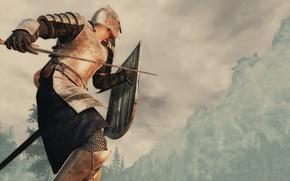 Картинка рендеринг, фон, гора, меч, доспехи, воин, шлем, щит