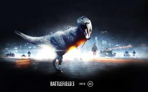 Обои динозавр, ящер, рык, battlefield 3