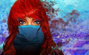 Картинка взгляд, девушка, маска, арт, голубые глаза, красные волосы