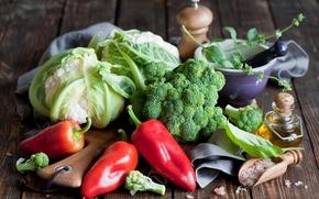Картинка красный, масло, перец, овощи, капуста, брокколи, соль