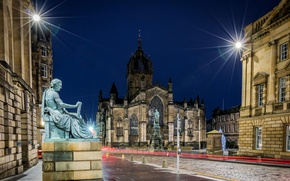 Картинка ночь, огни, улица, дома, Шотландия, фонари, собор, храм, Edinburgh, St Giles Cathedral, памятнтки, Сент-Джайлс