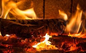 камин, дрова, огонь, пламя, жар обои