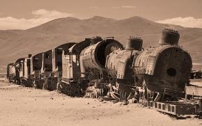 Картинка пустыня, поезд, вагоны, развалины