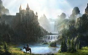 Картинка горы, река, замок, скалы, конь, водопад, доспехи, арт, всадник, крепость