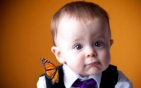 Обои настроение, бабочка, портрет, мальчик