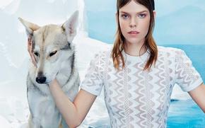 Картинка модель, собачка, фотосессия, 2015, Numero, Meghan Collison-1