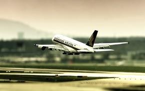 Обои взлёт, Airbus 380, tilt shift, Zurich airport