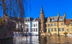 Картинка дома, Бельгия, Брюгге, Brugge, водный канал