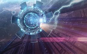 Картинка космос, свет, фантастика, портал, art, spaceship