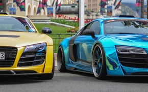 Картинка Audi, exclusive, supercars, monaco, blue chrome, unique, yellow matte