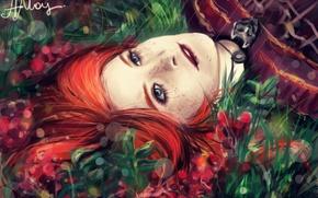 Картинка трава, девушка, лицо, веснушки, рыжая, Game of thrones, Песнь льда и огня, Sansa Stark, Санса …