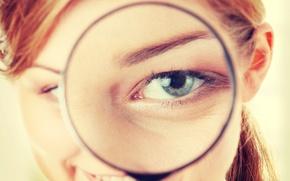 Картинка sexy, redhead, look, magnifying glass eye effect